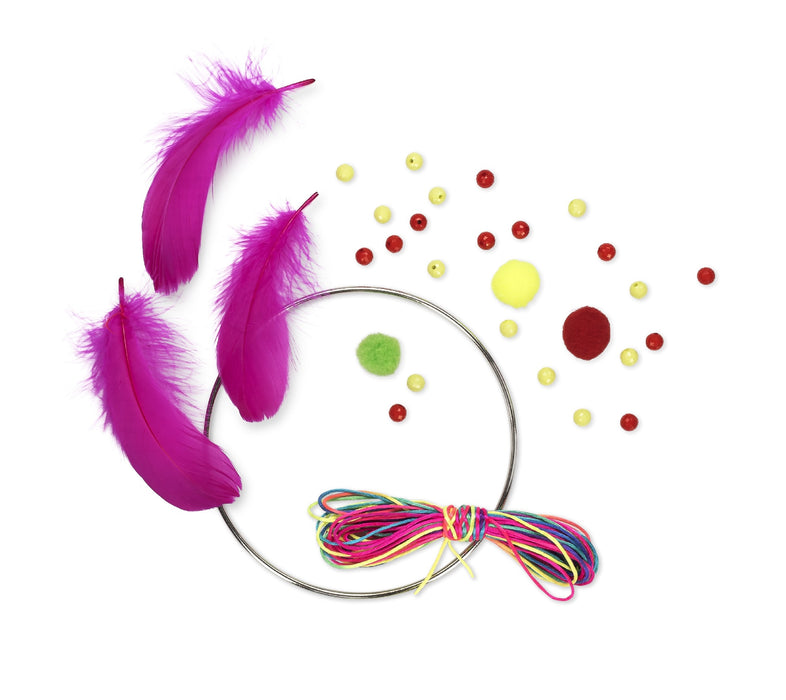 Make Your Own Dream Catcher Craft Kit Rainbow Thread, Beads and Feathers