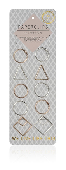 We Live Like This 10 X Metallic Geometric Paperclips