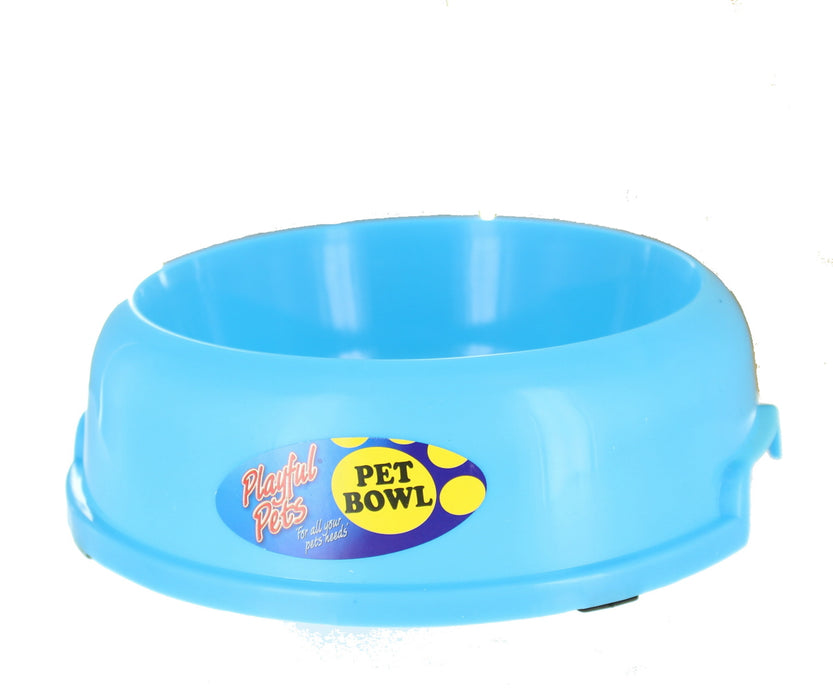 Playful Pets Plastic 20cm Dog Cat Puppy Pet Neon Feeding Water Bowl-Blue