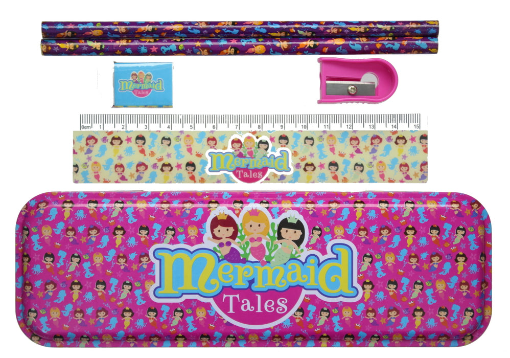 Mermaid Tales Kids 5pc School Stationery Set Pencils Rubber Ruler Sharpener Case