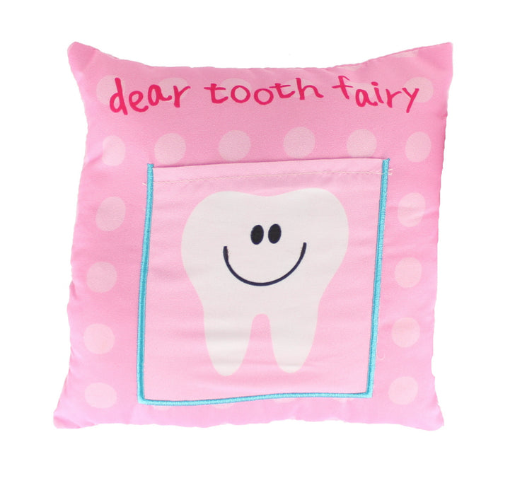 Children's Girls Tooth Fairy Money Pillow Cushion with Letter Pocket 30x30cm-Pink