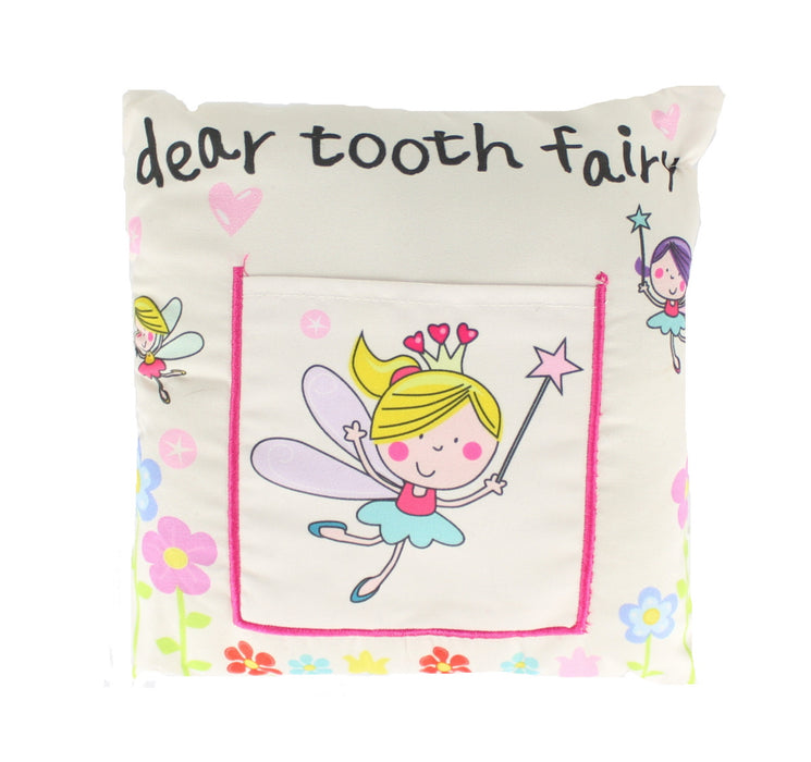 Children's Girls Tooth Fairy Money Pillow Cushion with Letter Pocket 30x30cm