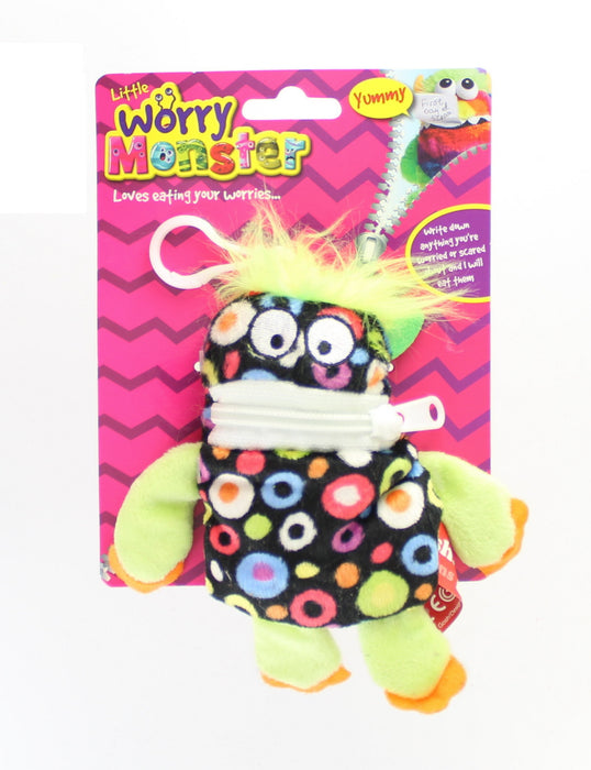 "Children's Bright Coloured Mini Worry Monster Clip On Soft Plush Toy 5.5""-Black"