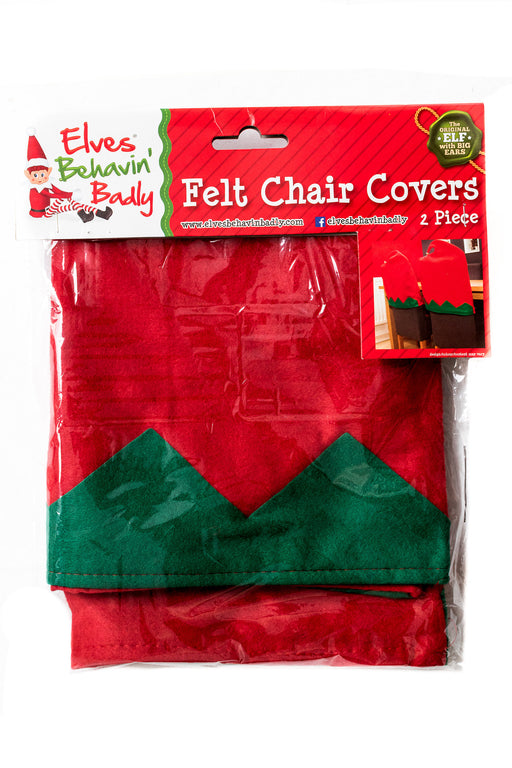 Elves Behavin' Badly Christmas 2 Piece Red & Green Festive Felt Chair Covers