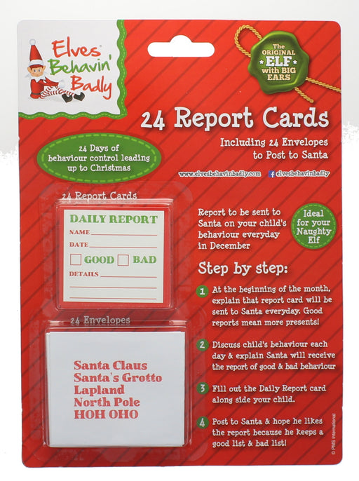 Elves Behavin' Badly 24 Christmas Report Cards With Envelopes To Santa Set