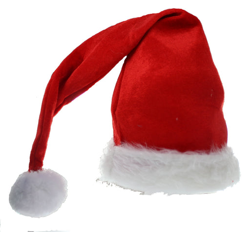 Snow White Father Christmas Festive Red Velvet Santa Hat 23""