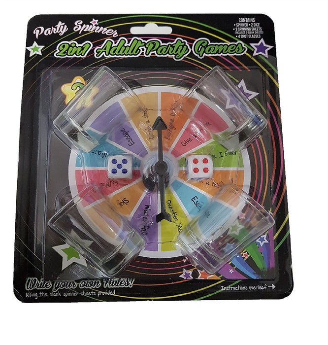 Party Spinner 2 in 1 Adult Party Drinking Game with Spinner, Dice & Shot Glasses