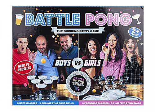 Battle Pong Adult Drinking Game Beer VS Prosecco Tournament Kit Cups & Balls Set