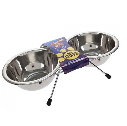 Playful Pets Stainless Steel Double Feeding Water Bowl Station