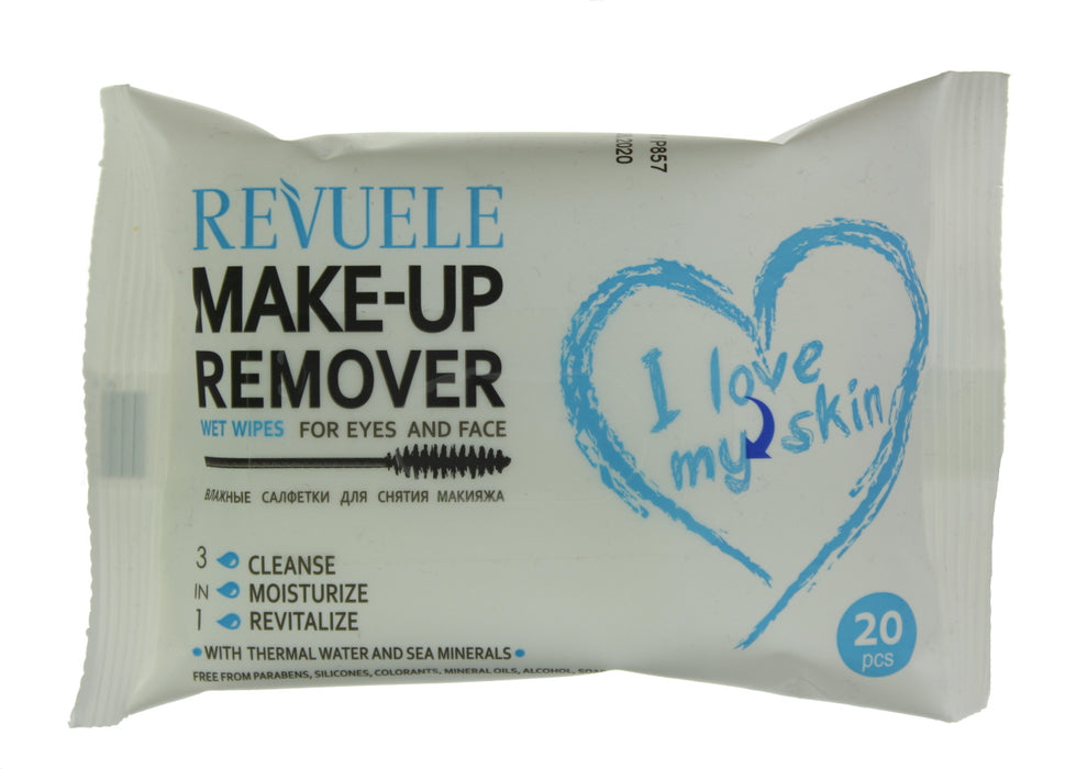 Revuele Make Up Remover Eyes and Face Facial Wet Wipes 20pc