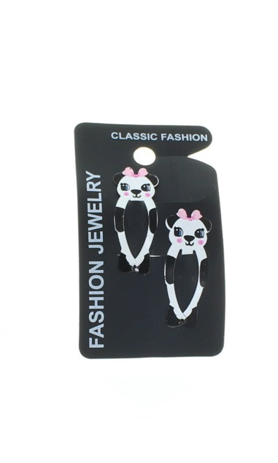 Pair of Animal Design Hair Snap Clips Girls Hair Accessories-Panda