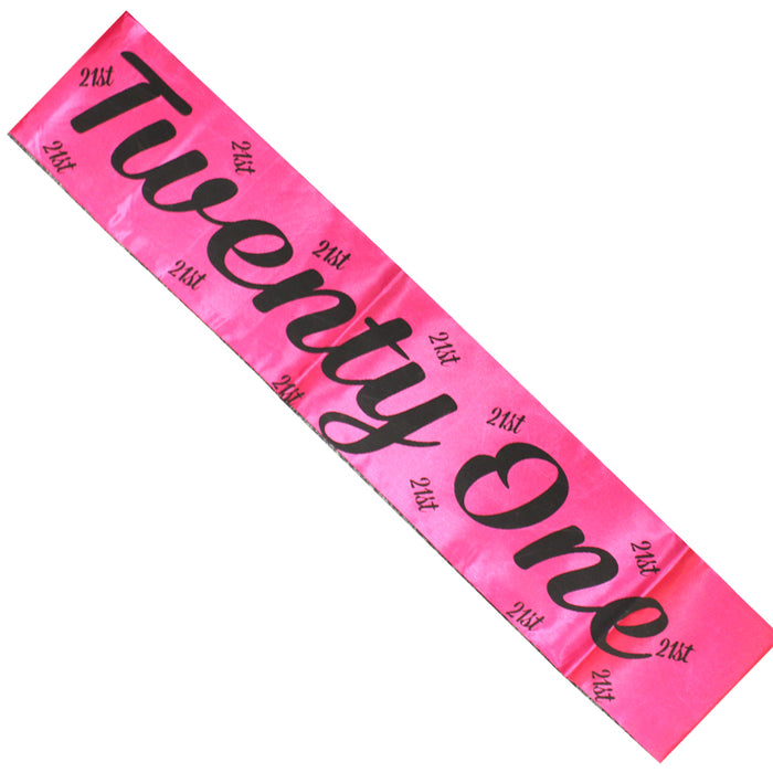 Party Girls Pink Sash With Black Writing Party Accessory-Twenty One