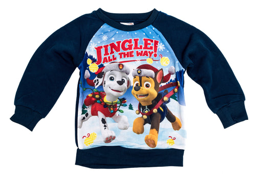 "Paw Patrol Blue Childrens Christmas ""Jingle All The Way"" Chase & Marshall Jumper"