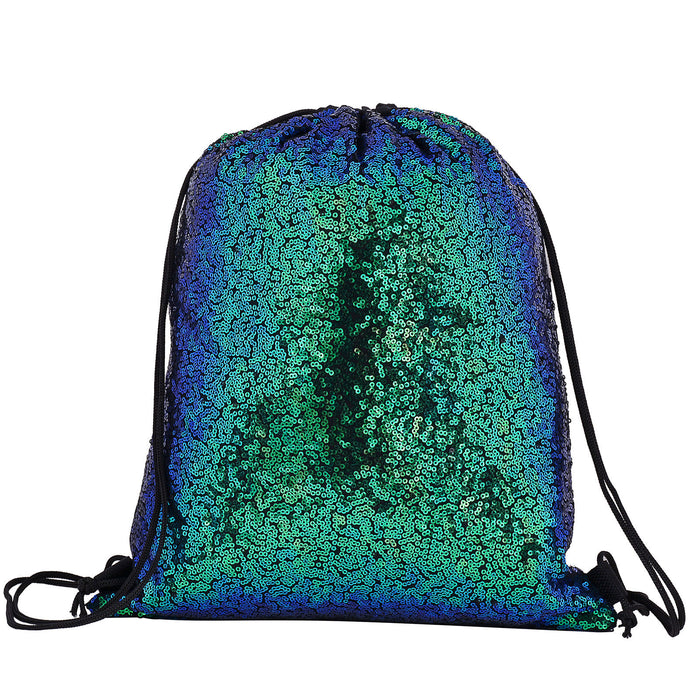 Sequin Drawstring Backpack Bag Metallic Mermaid Festival-Green