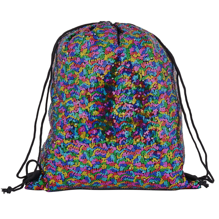 Sequin Drawstring Backpack Bag Metallic Mermaid Festival-Multi