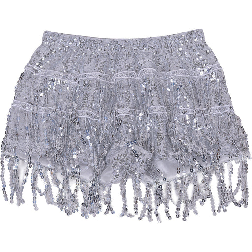 Silver Sequin Tassel Hot Pants Metallic Short Festival Ibiza Costume Accessory-Small/Medium