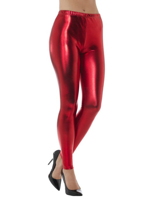 Womens Mermaid Metallic Holographic Stretch Leggings Pants Red-One Size