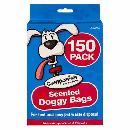 Pack of 150 Scented Doggy Bags Easy Tie Handle Waste Bags