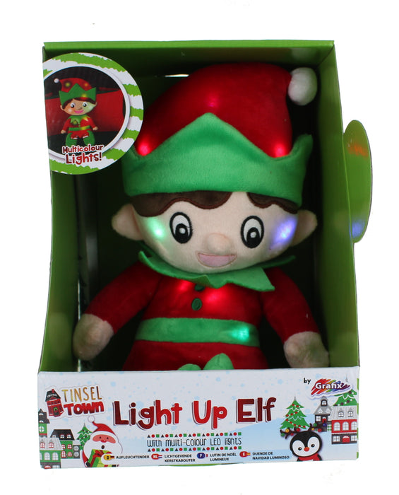Tinsel Town Christmas Light Up Festive Plush Elf With Multi-Colour LED Lights