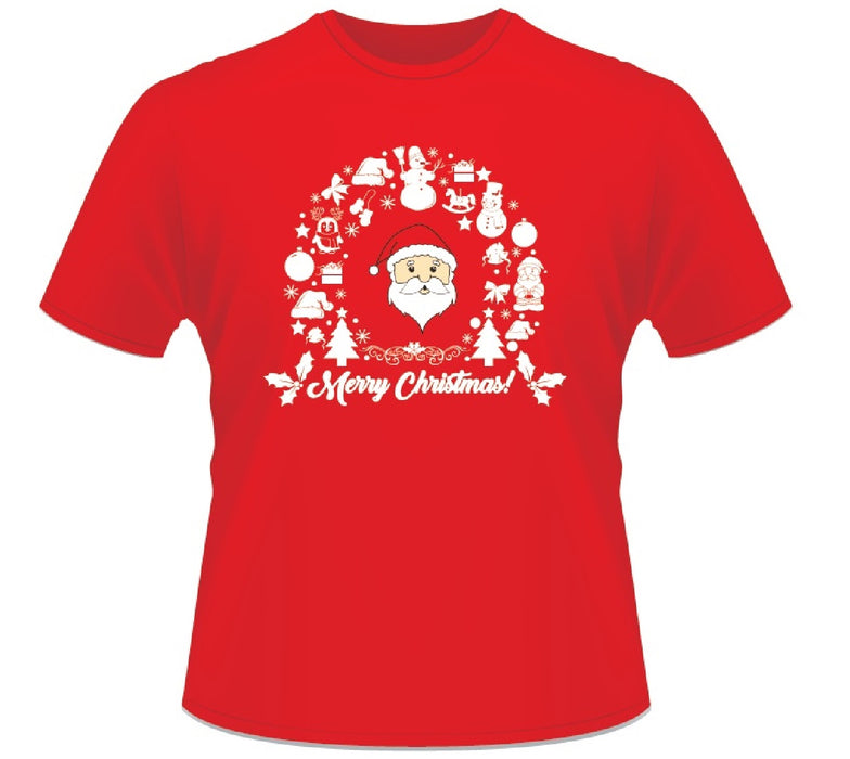 Red Christmas Short Sleeved 100% Cotton Merry Christmas Wreath Santa T-Shirt-Small