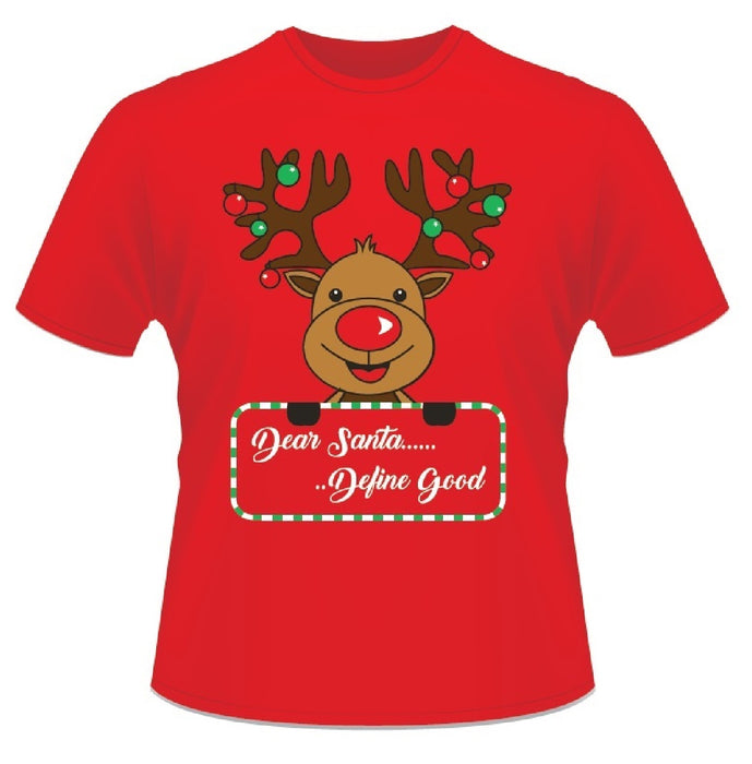 Red Christmas Short Sleeved 100% Cotton Reindeer Dear Santa Define Good T-Shirt-Small