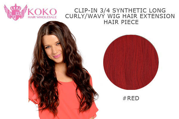 "26""  Clip-In 3/4 Synthetic Long Curly Wavy Hair Extension Half Head Piece-#RED"