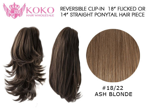 Reversible Clip-In 18� Flicked Or 14� Straight Ponytail Hair Piece-#18/22 Ash Blonde