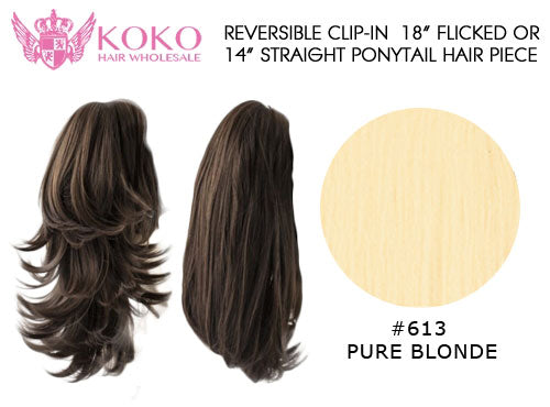 Reversible Clip-In 18� Flicked Or 14� Straight Ponytail Hair Piece-#613 Pure Blonde