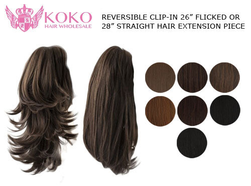 "Reversible Clip-In 26"" Straight 28"" Flicked Hair Extension Piece"