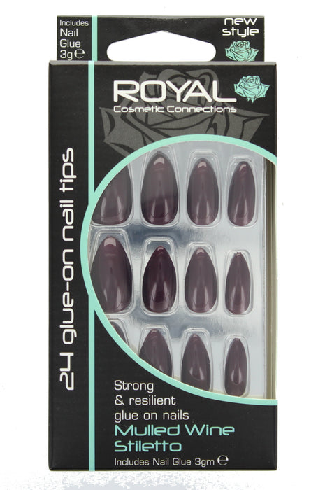 Royal 24 Glue-On Strong Full False Fake Nails Nail Tips - Mulled Wine Stiletto