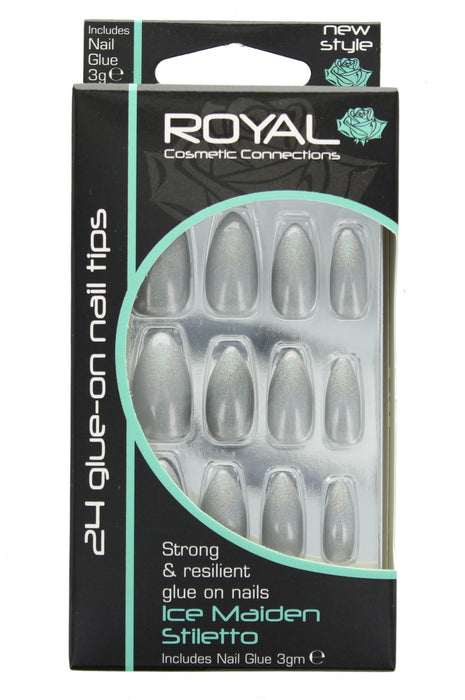 Royal 24 Glue-On Strong Full False Fake Nails Nail Tips - Ice Maiden Stiletto