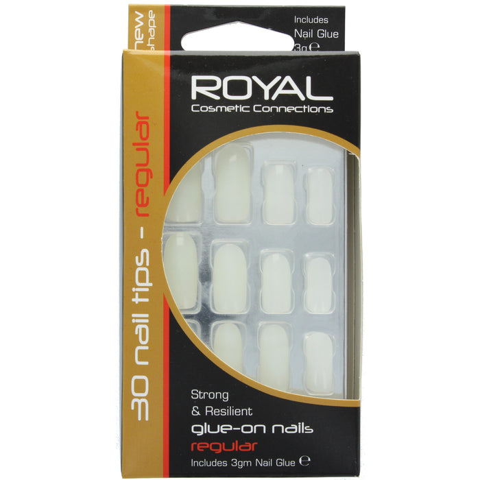 Royal 24 Glue On Strong Resilient False Fake Nails Nail Tips Regular Cosmetics