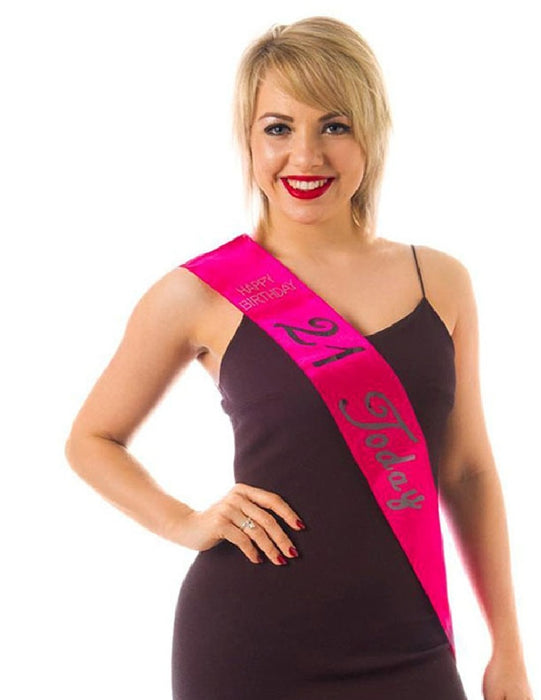 21 Today Happy Birthday Hot Pink Sash With Diamantes & Holographic Writing