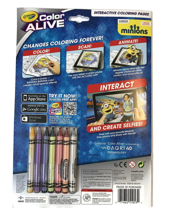 Crayola Colour Alive Minions Colouring Pages and Crayons