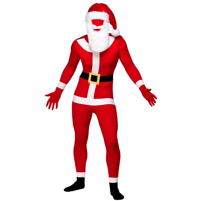 Christmas Santa Skinz With Beard One Piece Stretch Bodysuit Fancy Dress Costume