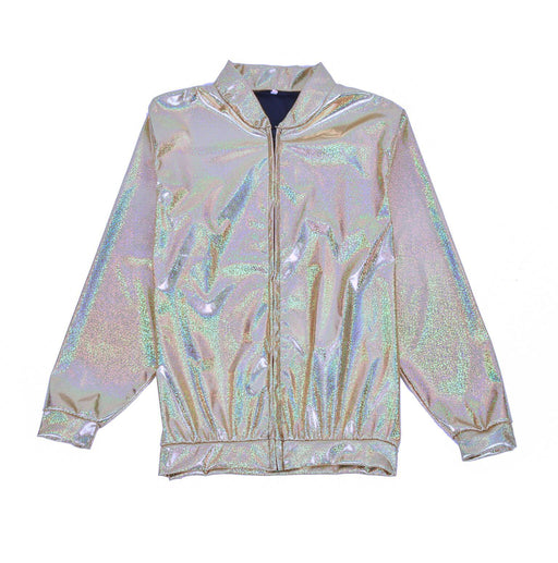 Silver Holographic Foil Jacket Metallic Bomber Coat Festival Fancy Dress Accessory