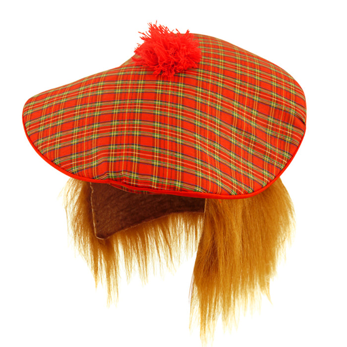 Scottish Tam O Shanter Hat With Ginger Hair Fancy Dress Accessory