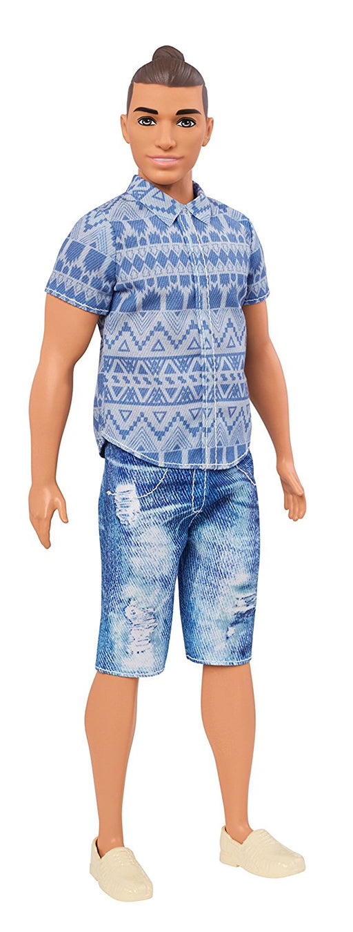 Barbie Fashionistas Distressed Denim Ken Doll With Man Bun & Blue Shirt Toy