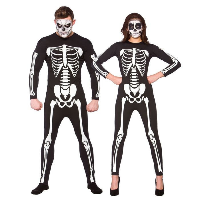 Adult Unisex Halloween Skeleton Jumpsuit Fancy Dress Outfit-Medium