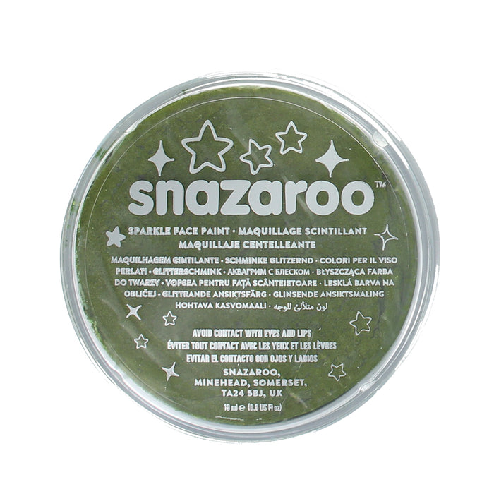Snazaroo Professional Water Based Sparkle Face & Body Paint Compact 18ml-Green