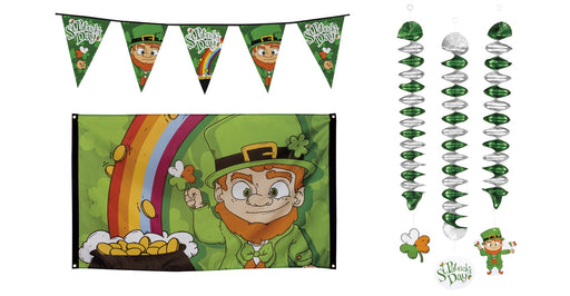 St Patricks Day Irish Leprechaun Flag, Bunting & Spiral Decoration Party Accessory