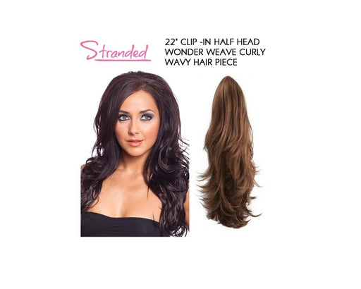 "20"" Clip -In Half Head Wonder Weave Curly Wavy Hair Piece"