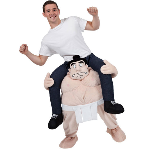 Adults Sumo Shoulder Carry Me Ride On Piggy Back Fancy Dress Costume Outfit Idea