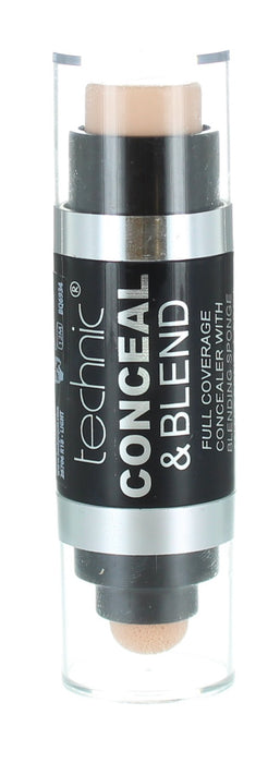 Technic Conceal and Blend Full Coverage Concealer with Blending Sponge-Light
