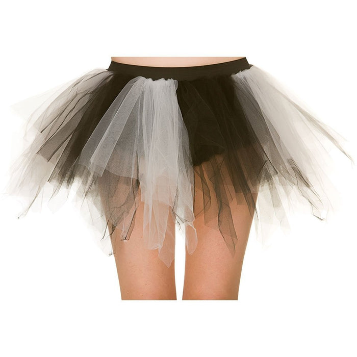 Adult Balck & White Shredded TuTu Halloween Fancy Dress Accessory