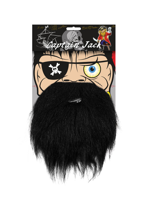Elasticated Character Black Beard Fancy Dress Accessory