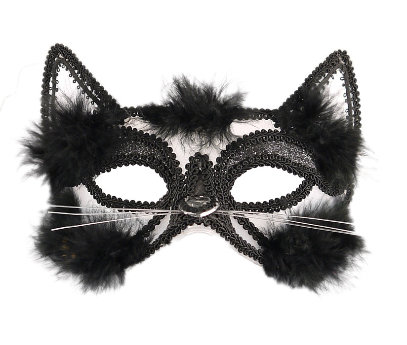 Halloween Black Cat Eye Mask with Sequins & Fur Fancy Dress Accessory