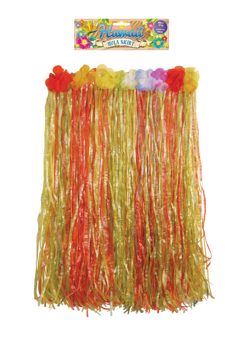 Adult Hawaiian Multi Coloured Hula Grass Skirt With Flowers 60cm Fancy Dress