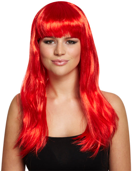 Best Dressed Long Straight Red Fancy Dress Wig With Fringe