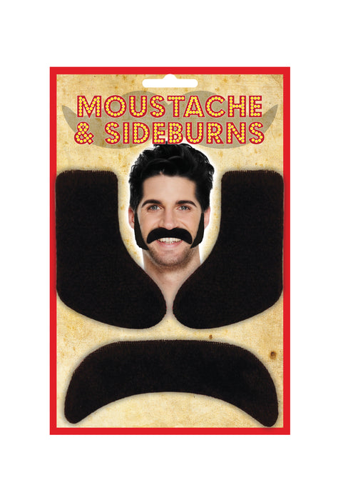 Best Dressed Stick on Black Moustache & Sideburns Fancy Dress Accessory